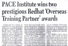 PACE Institute wins two prestigious Redhat Overseas Training Parther awards