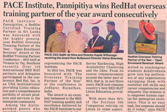 PACE Institute Pannipitiya wins RedHat overseas training partner of the year award consecutively